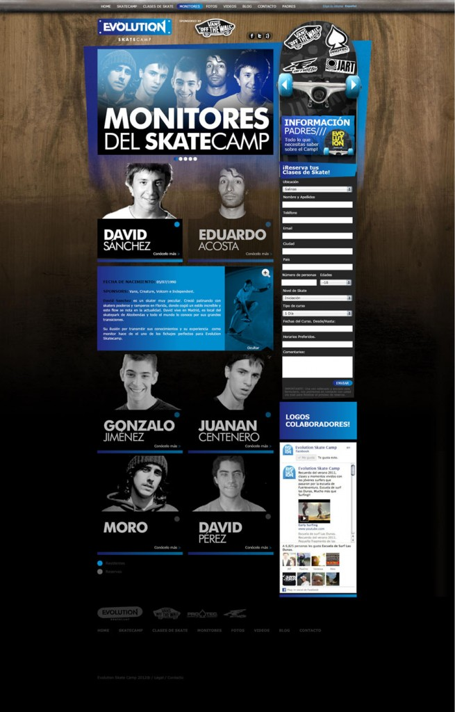 Monitores. Evolution, Skate Camp